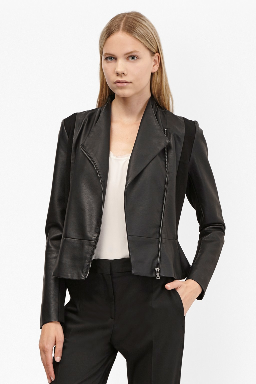 Chariot Pu Wrapover Jacket Black - pattern: plain; style: biker; collar: asymmetric biker; fit: slim fit; predominant colour: black; occasions: casual; length: standard; fibres: leather - 100%; sleeve length: long sleeve; sleeve style: standard; texture group: leather; collar break: low/open; pattern type: fabric; season: s/s 2016; wardrobe: basic