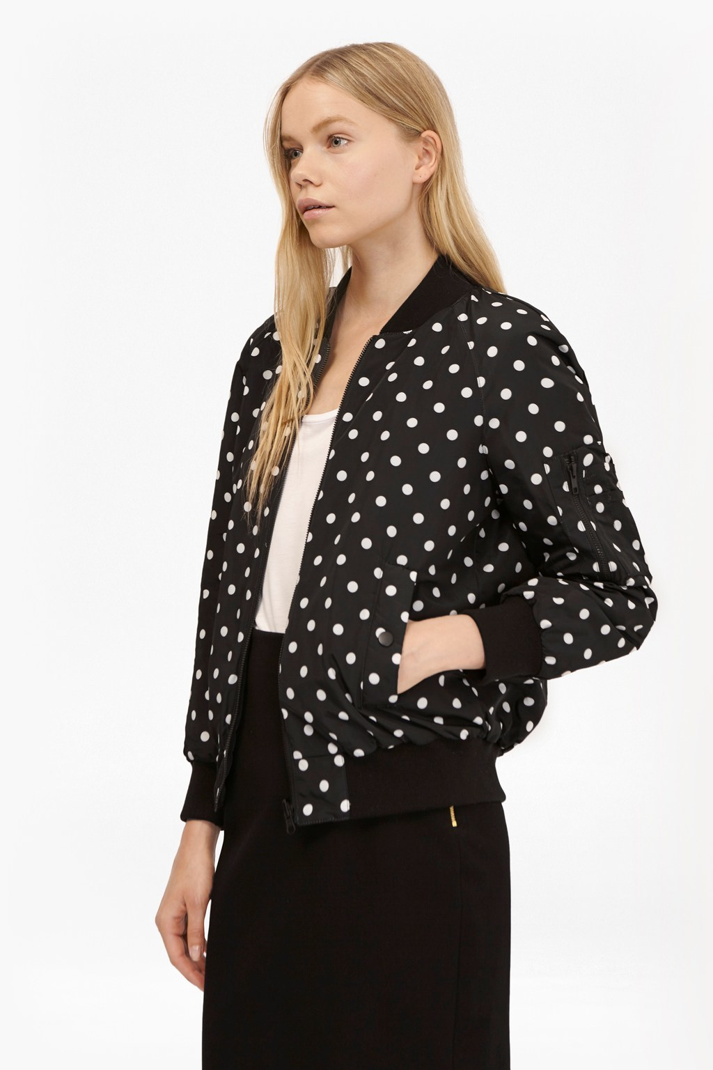 Dotty Spot Reversible Bomber Jacket Black/Winter White - style: single breasted blazer; collar: round collar/collarless; fit: loose; secondary colour: white; predominant colour: black; occasions: casual, creative work; length: standard; fibres: polyester/polyamide - 100%; sleeve length: long sleeve; sleeve style: standard; trends: monochrome; collar break: high; pattern type: fabric; pattern: patterned/print; texture group: other - light to midweight; season: s/s 2016; wardrobe: highlight