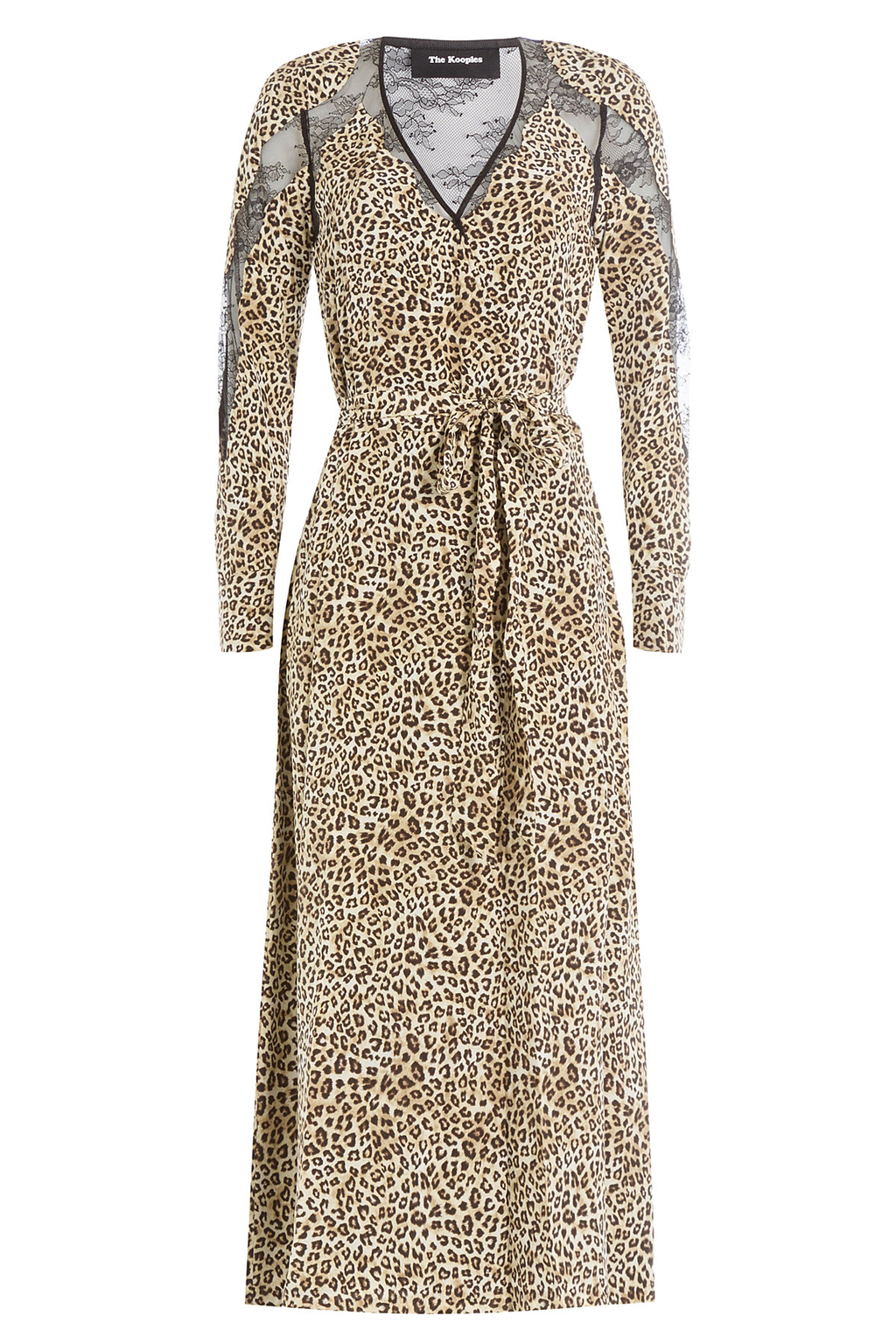 Animal Printed Silk Dress With Lace - style: shift; length: calf length; neckline: low v-neck; waist detail: belted waist/tie at waist/drawstring; predominant colour: stone; secondary colour: black; occasions: evening, creative work; fit: soft a-line; fibres: silk - 100%; sleeve length: long sleeve; sleeve style: standard; texture group: silky - light; pattern type: fabric; pattern size: standard; pattern: animal print; embellishment: lace; multicoloured: multicoloured; season: s/s 2016; wardrobe: highlight; embellishment location: back, sleeve/cuff