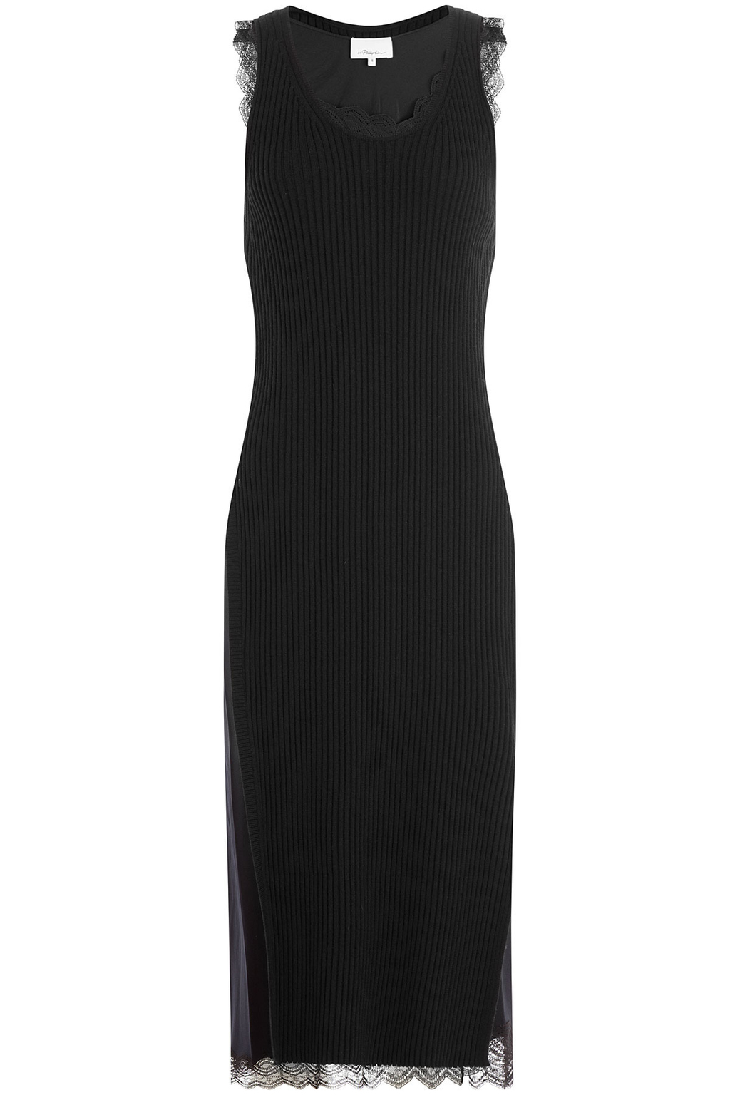 Ribbed Wool Blend Dress With Lace Blue - neckline: round neck; pattern: plain; sleeve style: sleeveless; style: maxi dress; length: ankle length; predominant colour: navy; occasions: evening; fit: body skimming; fibres: wool - mix; sleeve length: sleeveless; texture group: silky - light; pattern type: fabric; season: s/s 2016