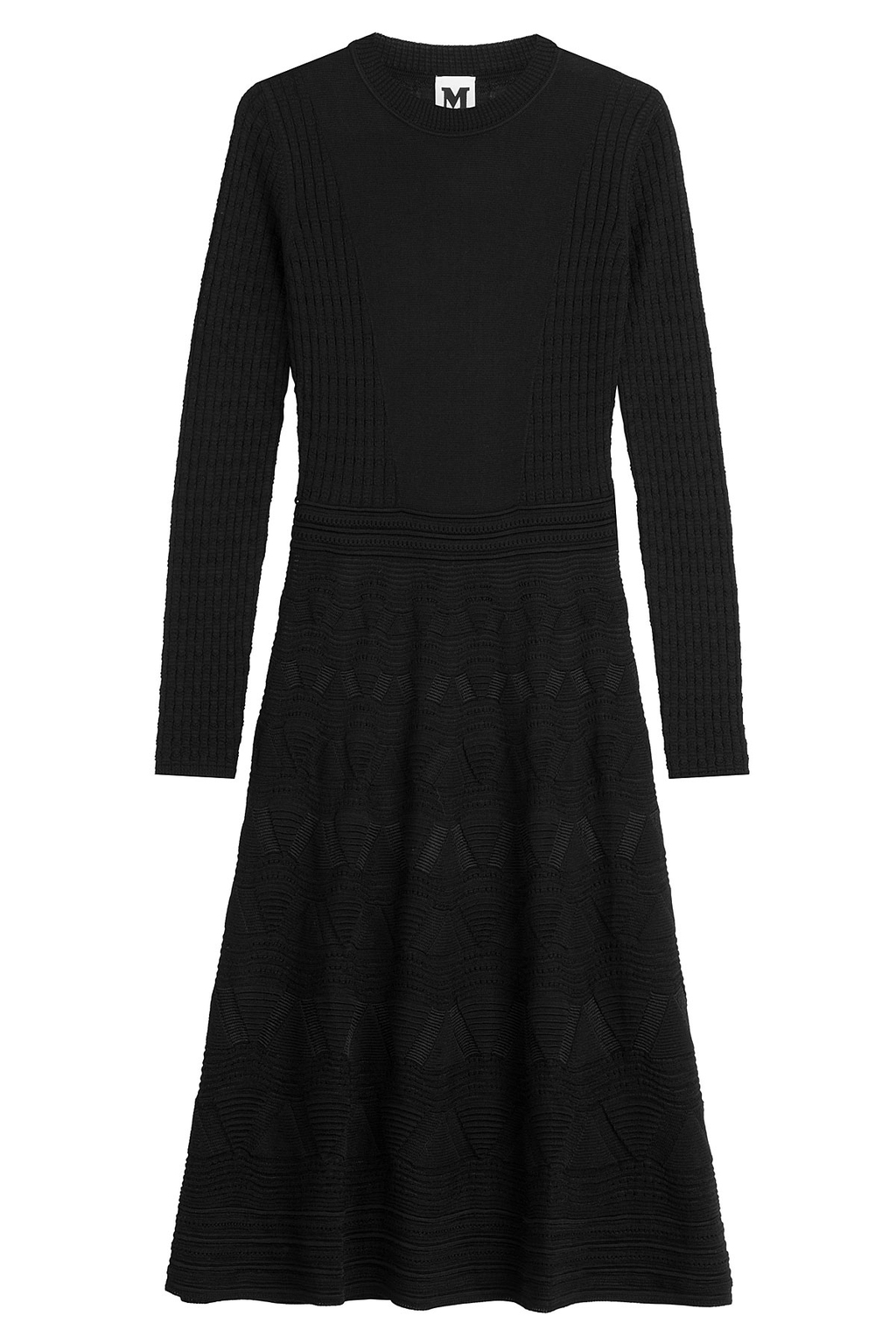 Patterned Knit Dress Black - style: tunic; pattern: plain; predominant colour: pale blue; occasions: casual, creative work; length: on the knee; fit: soft a-line; fibres: wool - 100%; neckline: crew; sleeve length: long sleeve; sleeve style: standard; pattern type: fabric; texture group: jersey - stretchy/drapey; season: s/s 2016