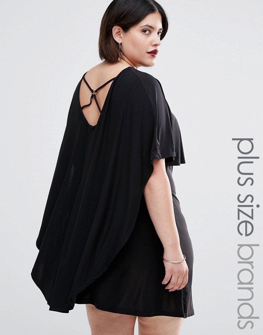 Plus Dress With Cape Detail And Harness Back Black - style: smock; length: mid thigh; neckline: round neck; sleeve style: angel/waterfall; fit: loose; pattern: plain; predominant colour: black; occasions: evening; fibres: polyester/polyamide - stretch; back detail: crossover; sleeve length: half sleeve; pattern type: fabric; texture group: jersey - stretchy/drapey; season: s/s 2016; wardrobe: event