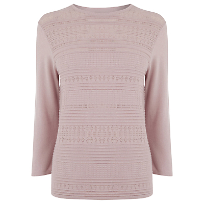 Pretty Stitch Crew Neck Jumper - neckline: round neck; pattern: plain; style: standard; predominant colour: blush; occasions: casual, work, creative work; length: standard; fibres: nylon - mix; fit: standard fit; sleeve length: 3/4 length; sleeve style: standard; texture group: knits/crochet; pattern type: knitted - fine stitch; season: s/s 2016