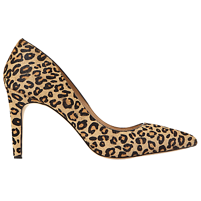 Evelyn Pointed Toe Stiletto Court Shoes, Leopard - predominant colour: camel; secondary colour: black; occasions: evening, occasion, creative work; heel height: high; heel: stiletto; toe: pointed toe; style: courts; finish: plain; pattern: animal print; material: faux suede; season: s/s 2016; wardrobe: highlight