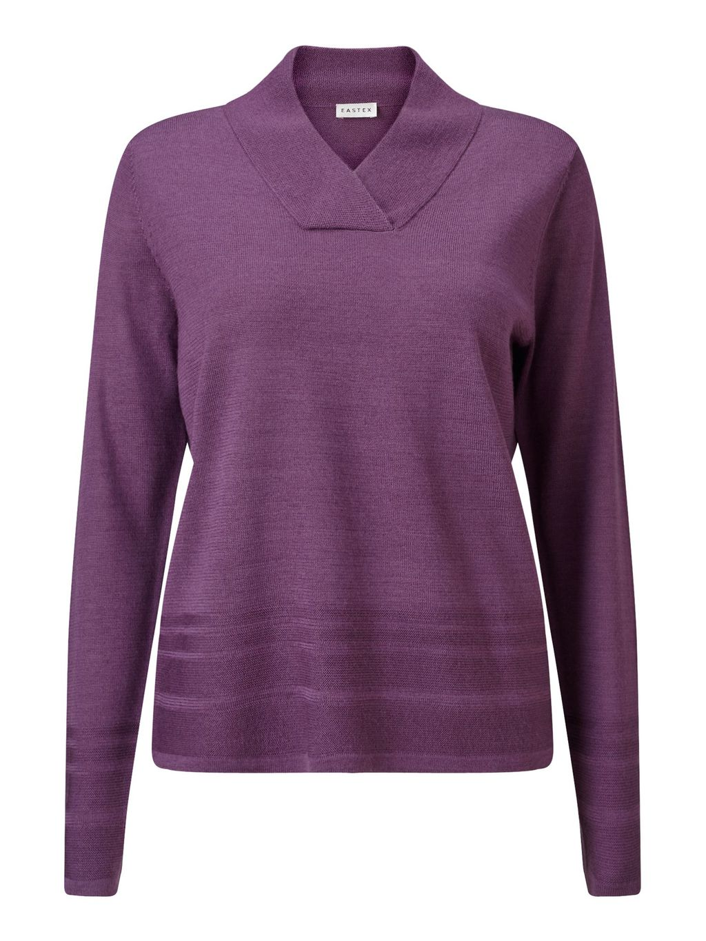 Cross Over Neck Jumper, Purple - neckline: v-neck; pattern: plain; style: standard; predominant colour: purple; occasions: casual, work, creative work; length: standard; fibres: acrylic - mix; fit: standard fit; sleeve length: long sleeve; sleeve style: standard; texture group: knits/crochet; pattern type: knitted - fine stitch; season: s/s 2016; wardrobe: highlight