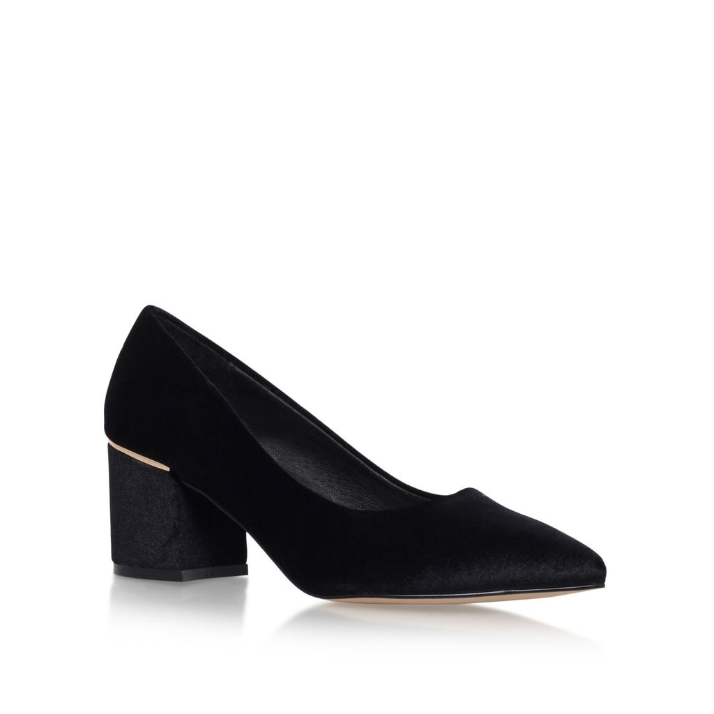 Dazzle Mid Heel Court Shoes, Black - predominant colour: black; occasions: evening; material: suede; heel height: mid; heel: block; toe: pointed toe; style: courts; finish: plain; pattern: plain; season: s/s 2016; wardrobe: event