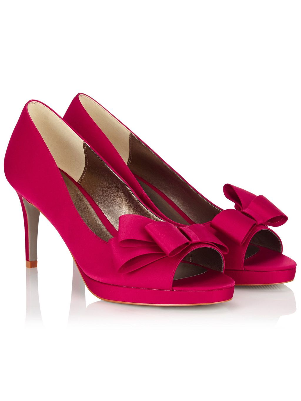 Bow Trim Platform Shoe, Pink - predominant colour: hot pink; occasions: evening, occasion; material: suede; heel height: high; heel: stiletto; toe: open toe/peeptoe; style: courts; finish: plain; pattern: plain; embellishment: bow; shoe detail: platform; season: s/s 2016; wardrobe: event
