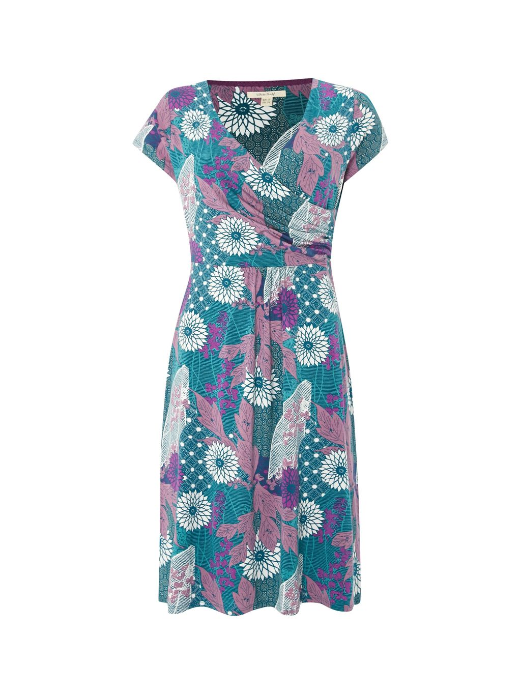 Tea Picker Jersey Dress, Green - style: faux wrap/wrap; neckline: low v-neck; sleeve style: capped; fit: fitted at waist; secondary colour: magenta; predominant colour: denim; occasions: casual; length: just above the knee; fibres: viscose/rayon - stretch; sleeve length: short sleeve; pattern type: fabric; pattern size: light/subtle; pattern: florals; texture group: jersey - stretchy/drapey; season: s/s 2016; wardrobe: highlight