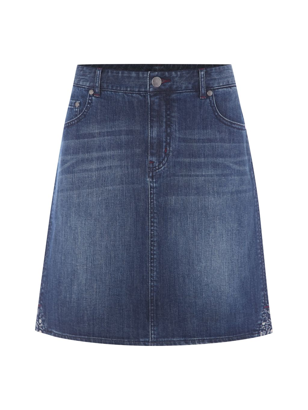 Country Walk Denim Skirt, Denim - pattern: plain; fit: loose/voluminous; waist: mid/regular rise; predominant colour: navy; occasions: casual, creative work; length: just above the knee; style: a-line; fibres: cotton - stretch; texture group: denim; pattern type: fabric; season: s/s 2016; wardrobe: basic