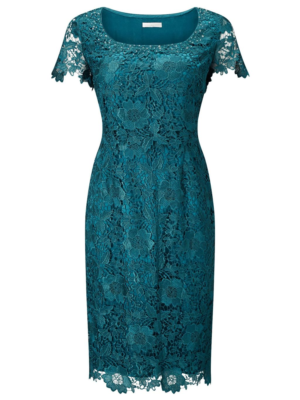 Lace Layer Dress, Green - style: shift; neckline: round neck; sleeve style: capped; fit: tailored/fitted; predominant colour: emerald green; occasions: evening, occasion; length: just above the knee; fibres: polyester/polyamide - 100%; sleeve length: short sleeve; texture group: lace; pattern type: fabric; pattern size: light/subtle; pattern: patterned/print; embellishment: lace; season: s/s 2016