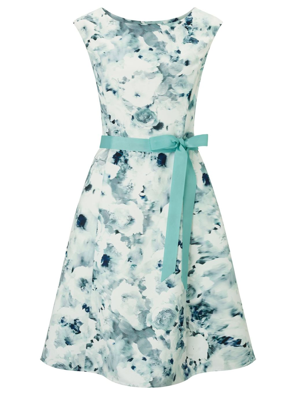 Petite Frosted Garden Prom, Green - sleeve style: sleeveless; style: prom dress; waist detail: belted waist/tie at waist/drawstring; secondary colour: ivory/cream; predominant colour: pistachio; length: on the knee; fit: fitted at waist & bust; fibres: polyester/polyamide - 100%; occasions: occasion; neckline: crew; sleeve length: sleeveless; pattern type: fabric; pattern size: big & busy; pattern: florals; texture group: woven light midweight; season: s/s 2016; wardrobe: event