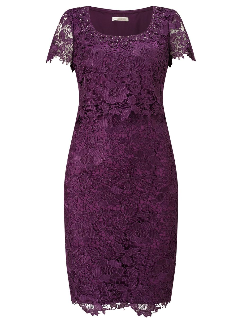 Opulent Lace Dress, Purple - style: shift; predominant colour: aubergine; occasions: evening, occasion; length: on the knee; fit: body skimming; neckline: scoop; fibres: polyester/polyamide - 100%; sleeve length: short sleeve; sleeve style: standard; texture group: lace; pattern type: fabric; pattern size: standard; pattern: patterned/print; season: s/s 2016; wardrobe: event