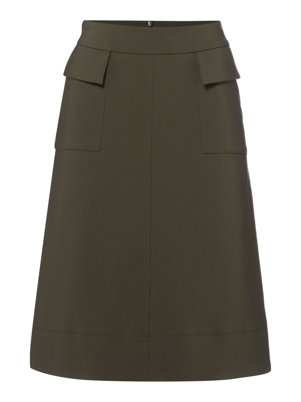 Military Detail Skirt, Khaki - length: below the knee; pattern: plain; waist: high rise; predominant colour: khaki; occasions: casual, creative work; style: a-line; fibres: cotton - mix; hip detail: subtle/flattering hip detail; fit: straight cut; pattern type: fabric; texture group: other - light to midweight; season: s/s 2016; wardrobe: basic