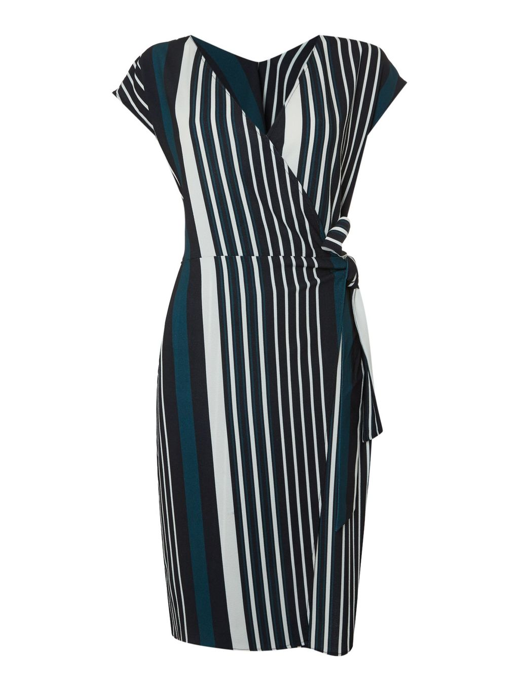 Luna Wrap Belted Dress, Multi Coloured - style: faux wrap/wrap; neckline: v-neck; sleeve style: capped; pattern: striped; predominant colour: navy; secondary colour: teal; length: on the knee; fit: body skimming; fibres: polyester/polyamide - stretch; sleeve length: short sleeve; pattern type: fabric; texture group: other - light to midweight; occasions: creative work; multicoloured: multicoloured; season: s/s 2016; wardrobe: highlight