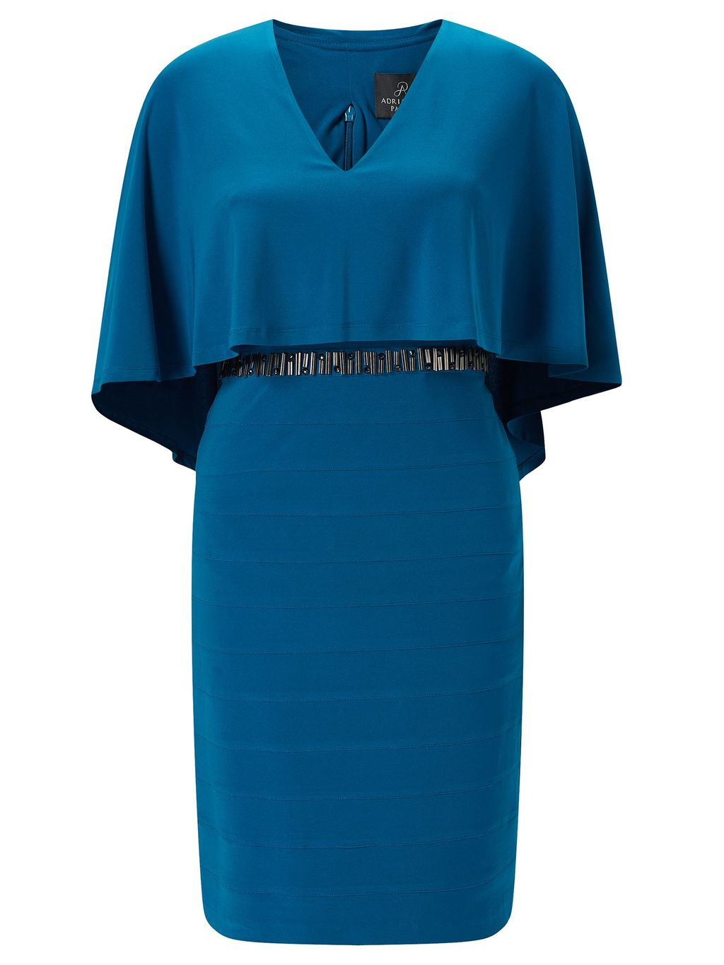 Popover Cape Sleeve Bandeau Dress, Dark Blue - style: shift; neckline: v-neck; sleeve style: angel/waterfall; fit: tailored/fitted; pattern: plain; secondary colour: navy; predominant colour: turquoise; length: on the knee; fibres: polyester/polyamide - 100%; occasions: occasion; sleeve length: half sleeve; pattern type: fabric; texture group: other - light to midweight; embellishment: beading; season: s/s 2016; wardrobe: event