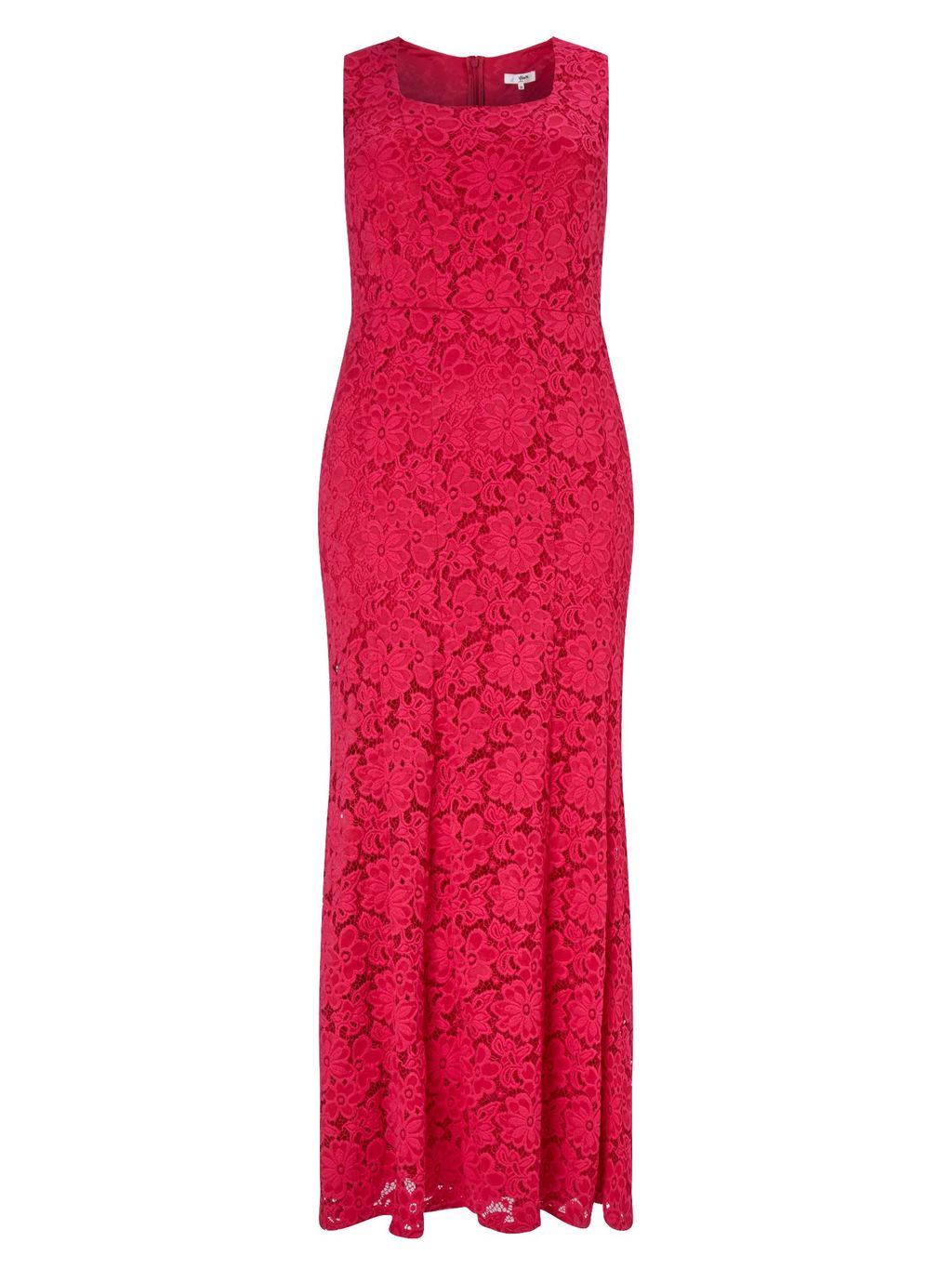 Christine Maxi Dress, Pink - neckline: high square neck; sleeve style: sleeveless; style: maxi dress; length: ankle length; predominant colour: hot pink; occasions: evening, occasion; fit: body skimming; fibres: polyester/polyamide - 100%; sleeve length: sleeveless; texture group: lace; pattern type: fabric; pattern size: standard; pattern: patterned/print; season: s/s 2016; wardrobe: event