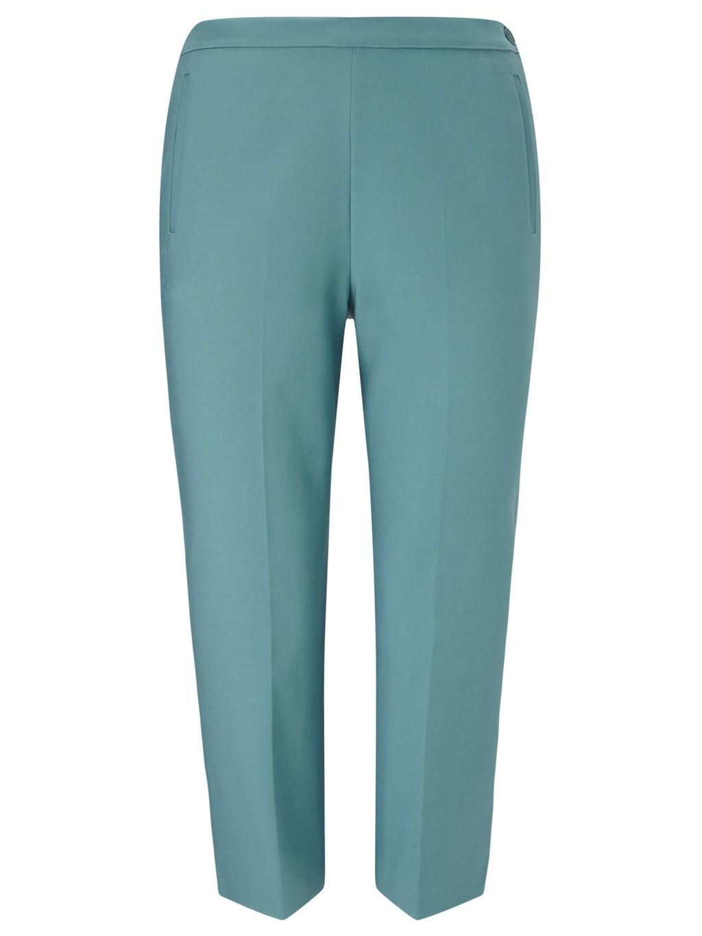 Crop Trouser, Turquoise - pattern: plain; waist: mid/regular rise; predominant colour: turquoise; length: calf length; fibres: polyester/polyamide - 100%; waist detail: feature waist detail; texture group: crepes; fit: slim leg; pattern type: fabric; style: standard; occasions: creative work; season: s/s 2016; wardrobe: highlight