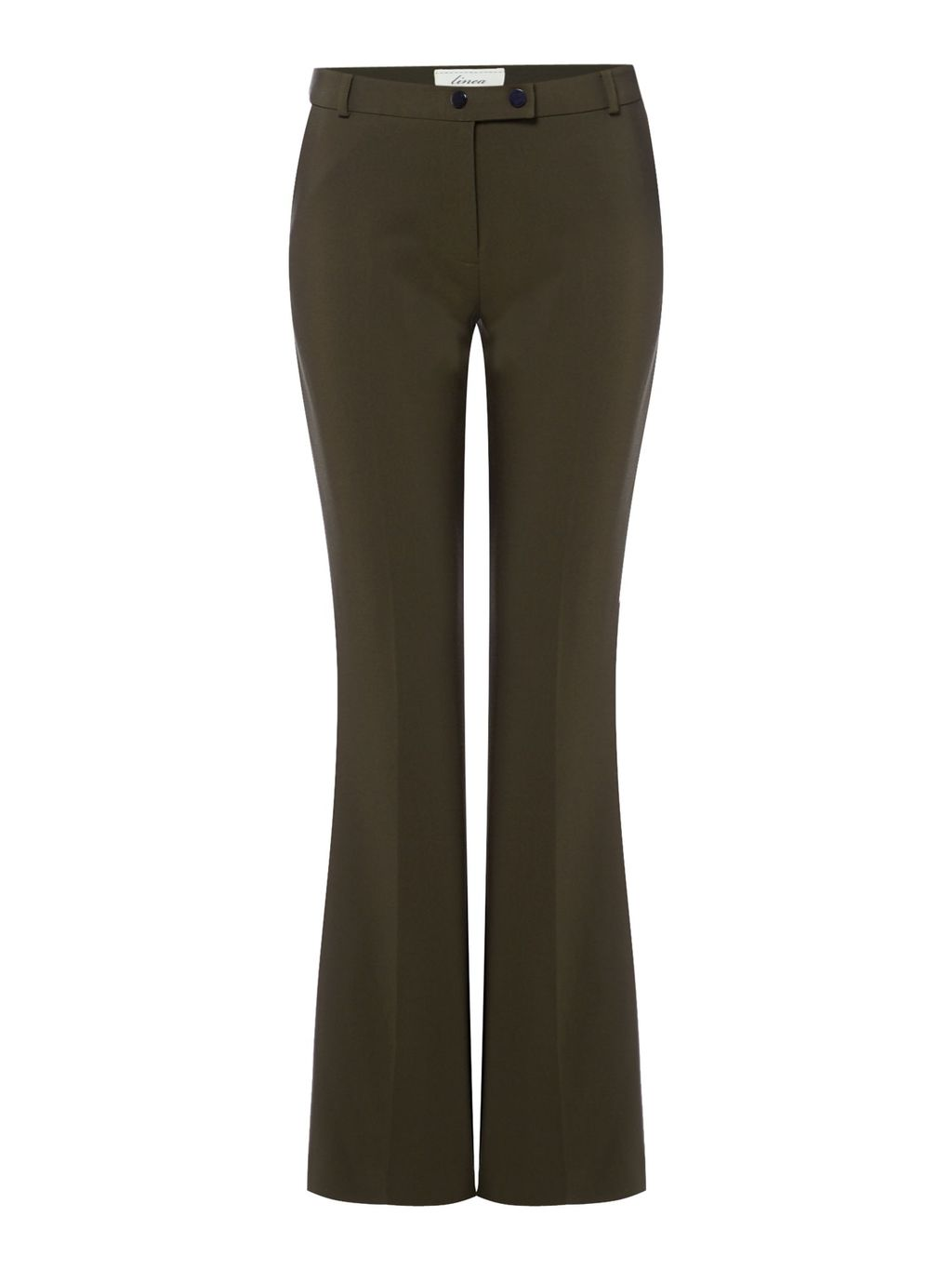 Elle Bootcut Trouser, Khaki - length: standard; pattern: plain; waist: mid/regular rise; predominant colour: khaki; occasions: casual, creative work; fibres: polyester/polyamide - stretch; fit: bootcut; pattern type: fabric; texture group: other - light to midweight; style: standard; season: s/s 2016; wardrobe: basic