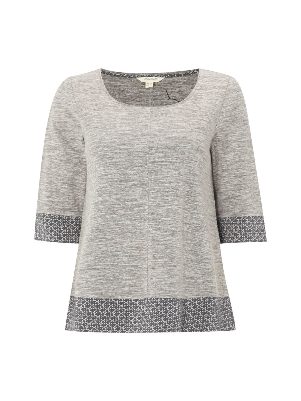 Suzi Jersey Tee, Grey - neckline: round neck; style: t-shirt; predominant colour: light grey; occasions: casual; length: standard; fibres: viscose/rayon - 100%; fit: body skimming; sleeve length: 3/4 length; sleeve style: standard; pattern type: fabric; pattern size: light/subtle; pattern: patterned/print; texture group: jersey - stretchy/drapey; season: s/s 2016; wardrobe: highlight