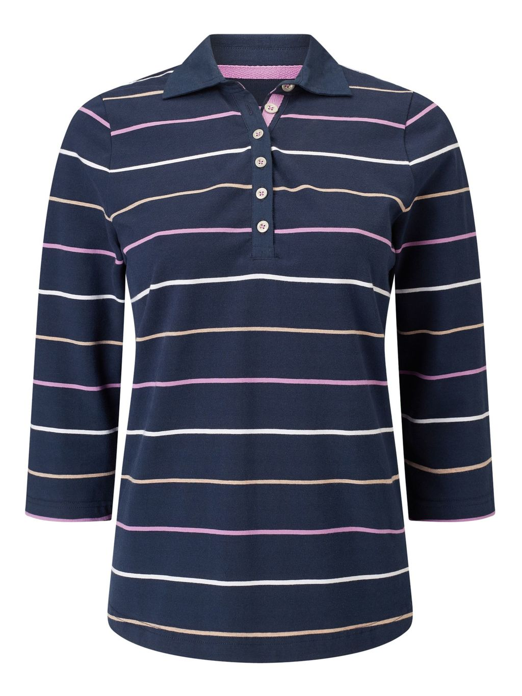 Navy Fine Stripe Rugby, Navy - neckline: shirt collar/peter pan/zip with opening; pattern: horizontal stripes; hip detail: draws attention to hips; style: polo shirt; predominant colour: navy; occasions: casual; length: standard; fibres: cotton - stretch; fit: body skimming; sleeve length: 3/4 length; sleeve style: standard; pattern type: fabric; pattern size: standard; texture group: jersey - stretchy/drapey; multicoloured: multicoloured; season: s/s 2016; wardrobe: basic; embellishment location: bust