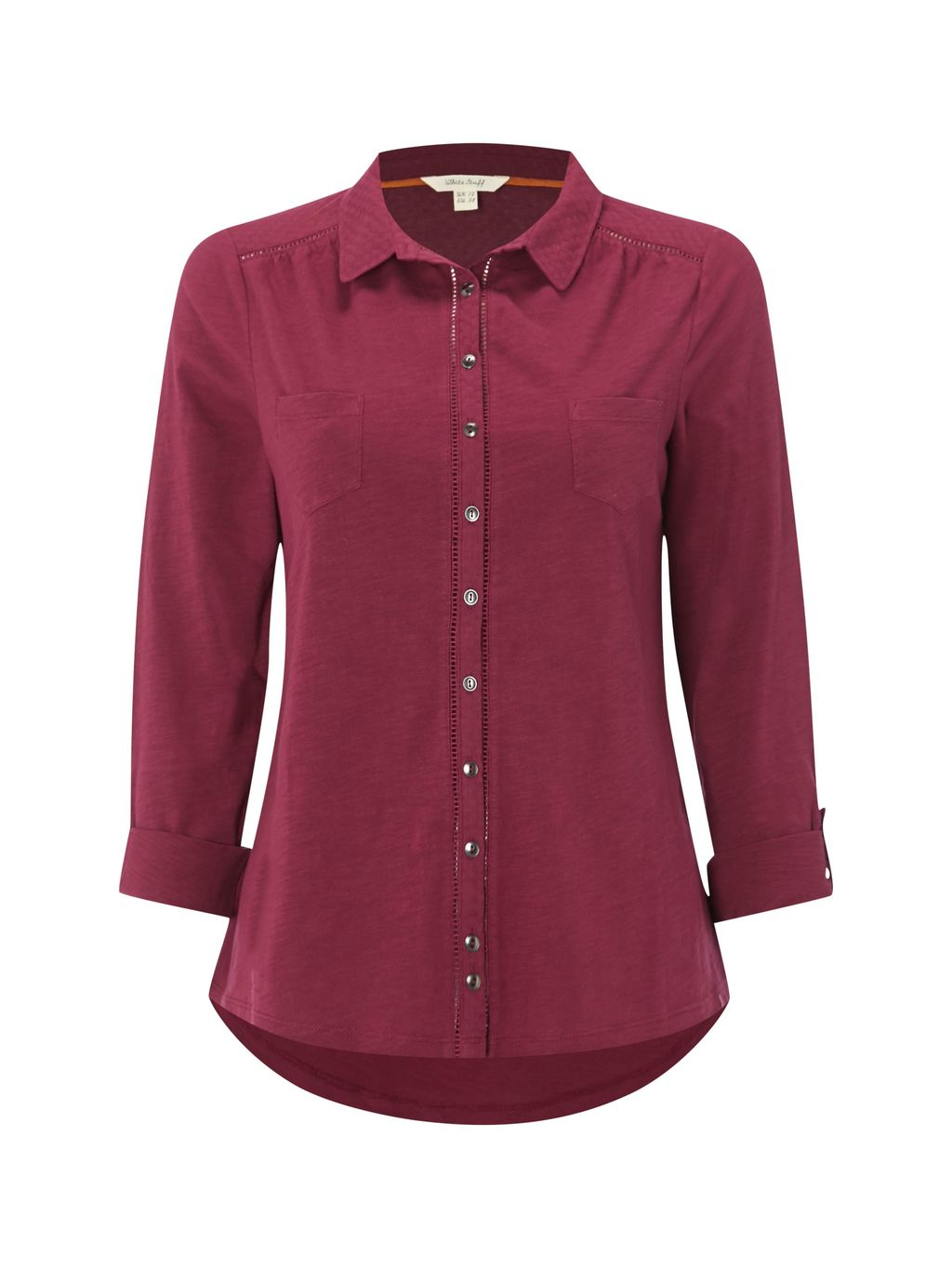 Pearl Ls Jersey Shirt, Purple - neckline: shirt collar/peter pan/zip with opening; pattern: plain; style: shirt; predominant colour: burgundy; occasions: casual; length: standard; fibres: cotton - 100%; fit: straight cut; sleeve length: 3/4 length; sleeve style: standard; pattern type: fabric; texture group: jersey - stretchy/drapey; season: s/s 2016; wardrobe: highlight