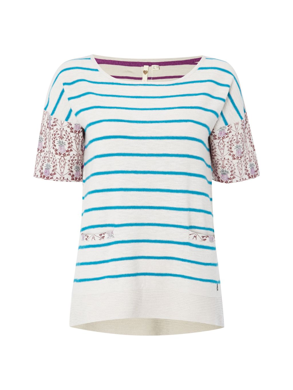 Orient Knit Top, Multi Coloured - neckline: round neck; pattern: horizontal stripes; predominant colour: ivory/cream; secondary colour: turquoise; occasions: casual, creative work; length: standard; style: top; fibres: cotton - mix; fit: body skimming; sleeve length: short sleeve; sleeve style: standard; texture group: knits/crochet; pattern type: knitted - fine stitch; pattern size: big & busy (top); multicoloured: multicoloured; season: s/s 2016; wardrobe: highlight