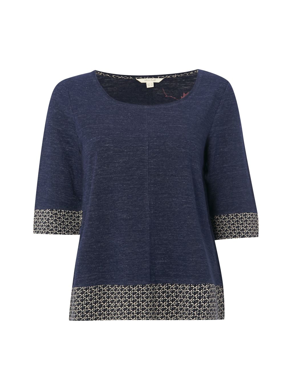 Suzi Jersey Tee, Blue - neckline: round neck; style: t-shirt; predominant colour: navy; secondary colour: stone; occasions: casual; length: standard; fibres: cotton - stretch; fit: loose; sleeve length: 3/4 length; sleeve style: standard; pattern type: fabric; pattern size: light/subtle; pattern: patterned/print; texture group: jersey - stretchy/drapey; season: s/s 2016; wardrobe: highlight; embellishment: contrast fabric; embellishment location: hip