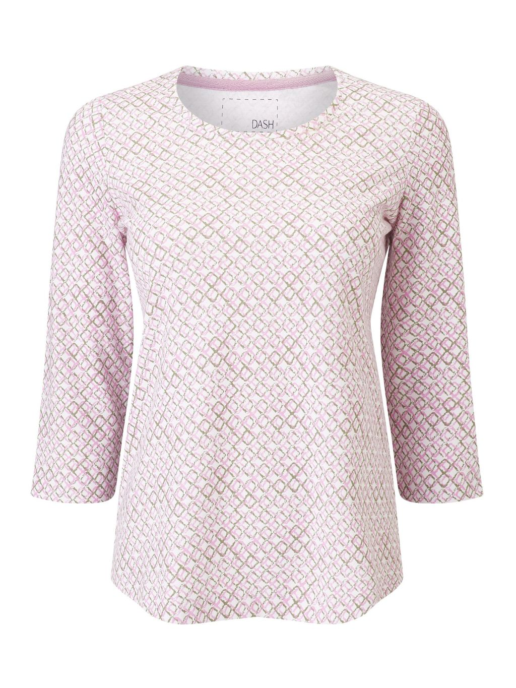Diamond Print Basic Tee, Pink - style: t-shirt; predominant colour: blush; occasions: casual, creative work; length: standard; fibres: cotton - stretch; fit: body skimming; neckline: crew; sleeve length: 3/4 length; sleeve style: standard; pattern type: fabric; pattern size: standard; pattern: patterned/print; texture group: jersey - stretchy/drapey; season: s/s 2016; wardrobe: highlight