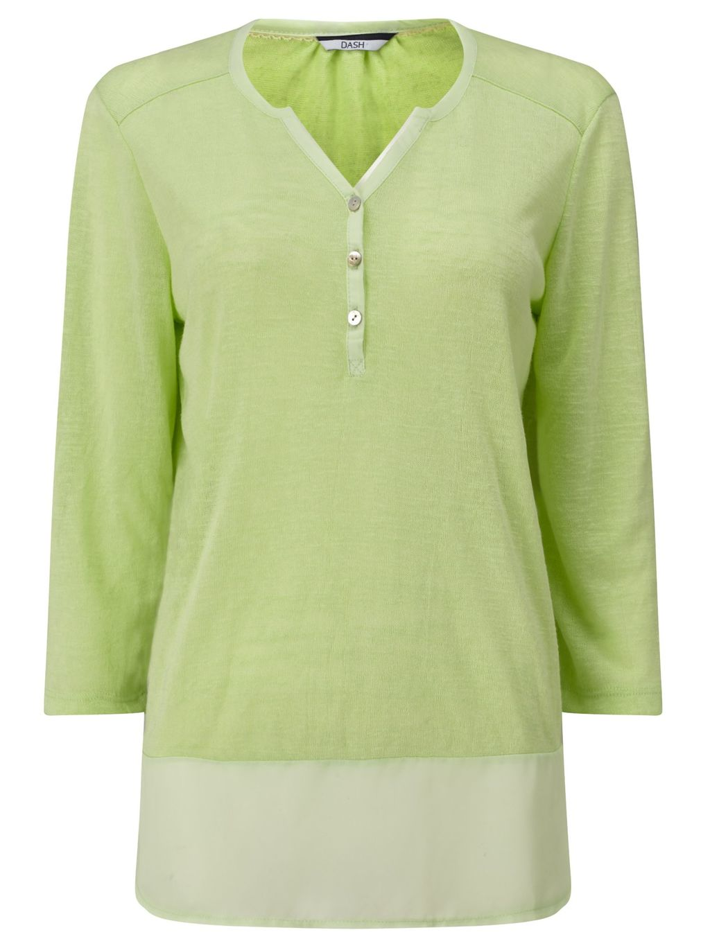 3/4 Sleeve Woven Jersey Mix, Green - neckline: v-neck; style: t-shirt; secondary colour: ivory/cream; predominant colour: pistachio; occasions: casual; length: standard; fibres: cotton - stretch; fit: straight cut; sleeve length: 3/4 length; sleeve style: standard; pattern type: fabric; pattern size: standard; pattern: colourblock; texture group: jersey - stretchy/drapey; season: s/s 2016; wardrobe: highlight; embellishment location: bust