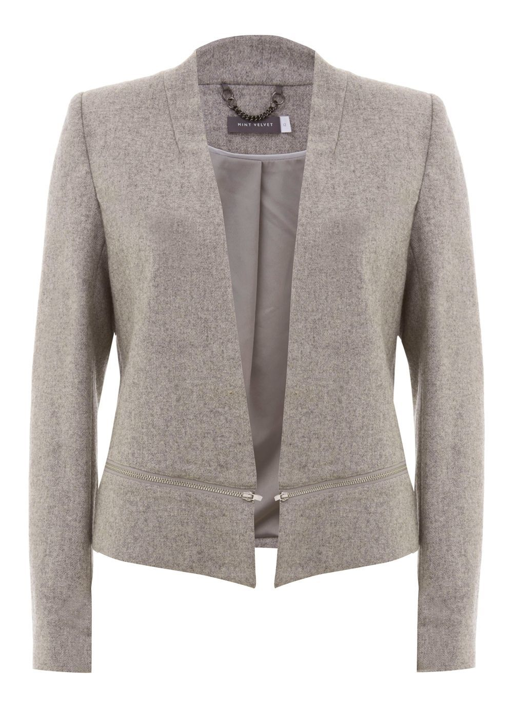 Silver Grey Flannel Crop Tux Jacket, Grey - style: single breasted blazer; collar: round collar/collarless; pattern: herringbone/tweed; predominant colour: stone; occasions: work; length: standard; fit: tailored/fitted; fibres: wool - mix; sleeve length: long sleeve; sleeve style: standard; collar break: low/open; pattern type: fabric; pattern size: light/subtle; texture group: woven light midweight; season: s/s 2016; wardrobe: investment