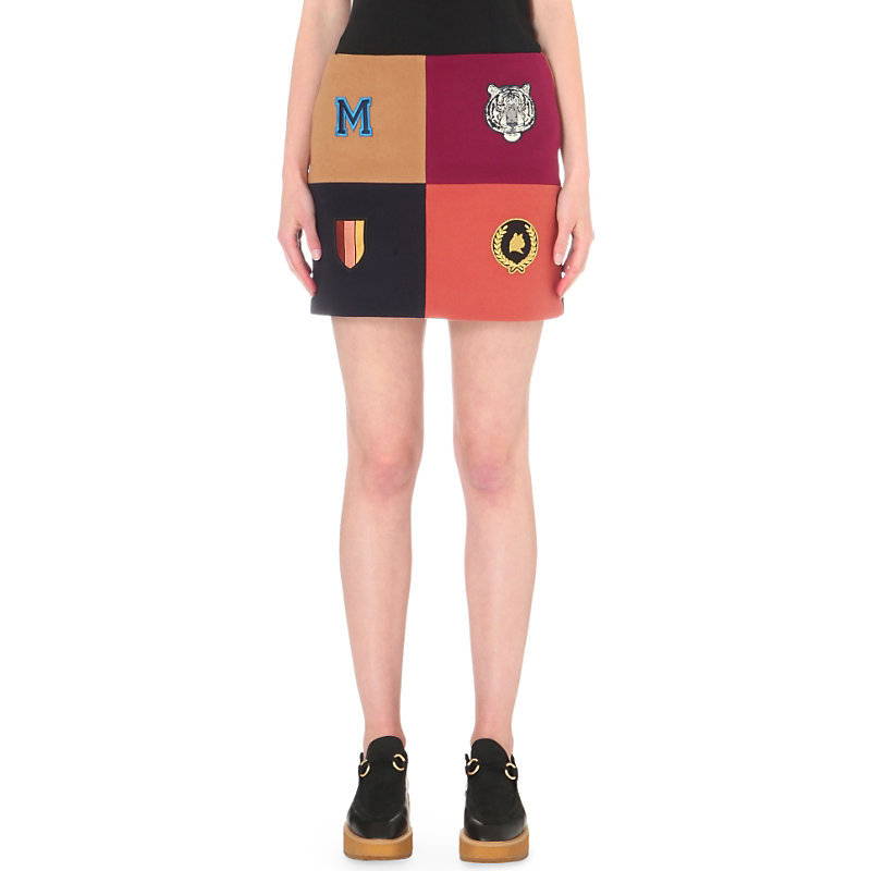 Contrast Panel Wool Blend Skirt, Women's, Dark Grey/Blue - length: mini; style: straight; waist: mid/regular rise; secondary colour: burgundy; predominant colour: coral; occasions: casual; fibres: wool - mix; fit: straight cut; pattern type: fabric; pattern: colourblock; texture group: other - light to midweight; embellishment: embroidered; season: s/s 2016; wardrobe: highlight