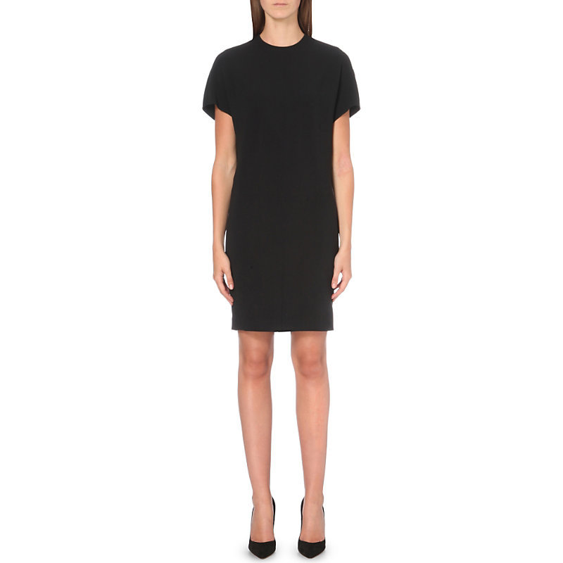 Draped Back Stretch Crepe Dress, Women's, Black - style: shift; fit: tailored/fitted; pattern: plain; predominant colour: black; occasions: evening, work, creative work; length: just above the knee; fibres: viscose/rayon - 100%; neckline: crew; sleeve length: short sleeve; sleeve style: standard; texture group: crepes; pattern type: fabric; season: s/s 2016; wardrobe: investment