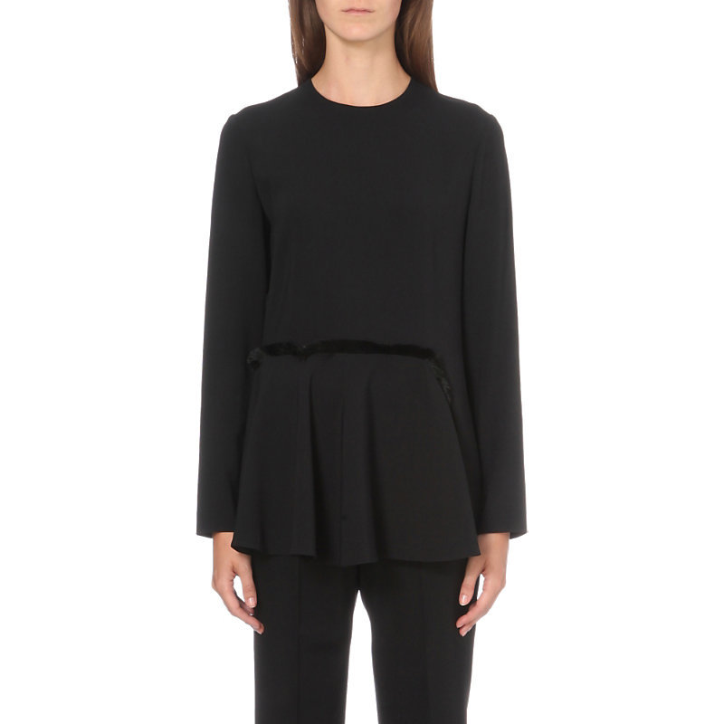Fringed Stretch Crepe Top, Women's, Black - pattern: plain; predominant colour: black; occasions: evening; length: standard; style: top; fibres: viscose/rayon - stretch; fit: body skimming; neckline: crew; sleeve length: long sleeve; sleeve style: standard; texture group: crepes; pattern type: fabric; season: s/s 2016; wardrobe: event