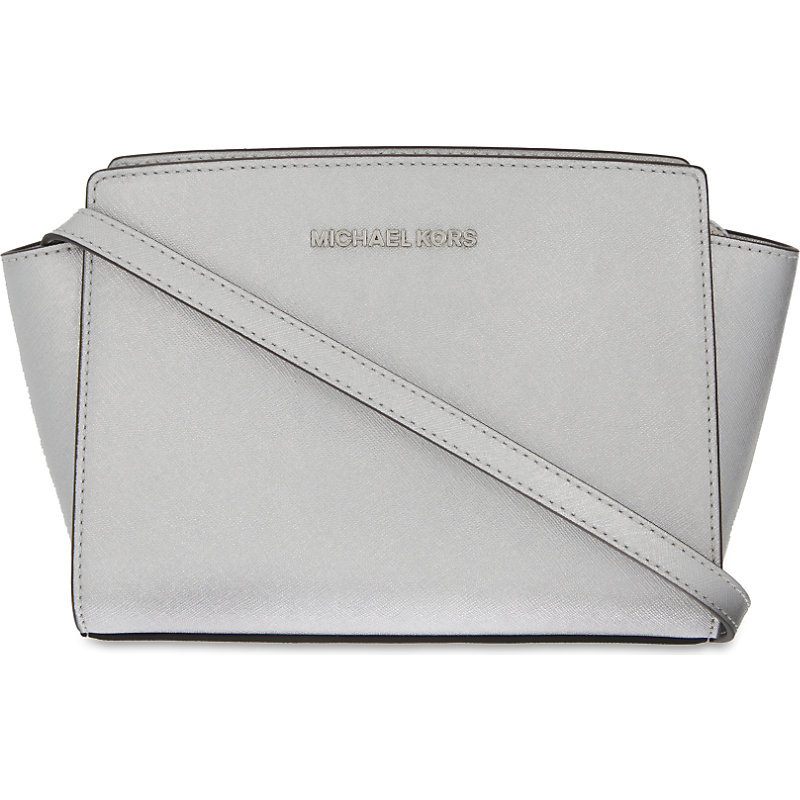 Selma Medium Leather Cross Body Bag, Silver - predominant colour: light grey; occasions: casual, creative work; type of pattern: standard; style: messenger; length: across body/long; size: standard; material: leather; pattern: plain; finish: plain; season: s/s 2016; wardrobe: basic