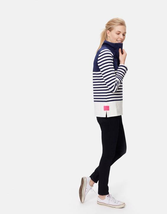 French Navy Block Cowdray Sweatshirt Size 6 | Uk - pattern: horizontal stripes; neckline: high neck; style: sweat top; secondary colour: white; predominant colour: navy; occasions: casual; length: standard; fibres: cotton - stretch; fit: body skimming; sleeve length: long sleeve; sleeve style: standard; pattern type: fabric; texture group: jersey - stretchy/drapey; multicoloured: multicoloured; season: s/s 2016; wardrobe: basic