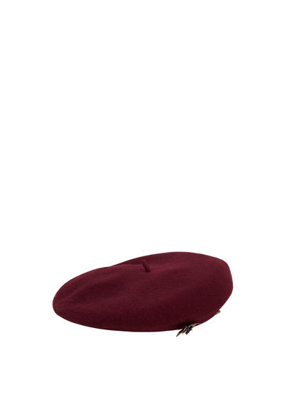 Beads Wool Beret - predominant colour: burgundy; occasions: casual; type of pattern: standard; style: beret; size: standard; material: fabric; pattern: plain; season: s/s 2016; wardrobe: highlight