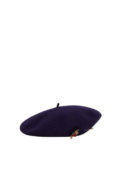 Beads Wool Beret - predominant colour: navy; occasions: casual; type of pattern: standard; style: beret; size: standard; material: fabric; pattern: plain; season: s/s 2016; wardrobe: basic