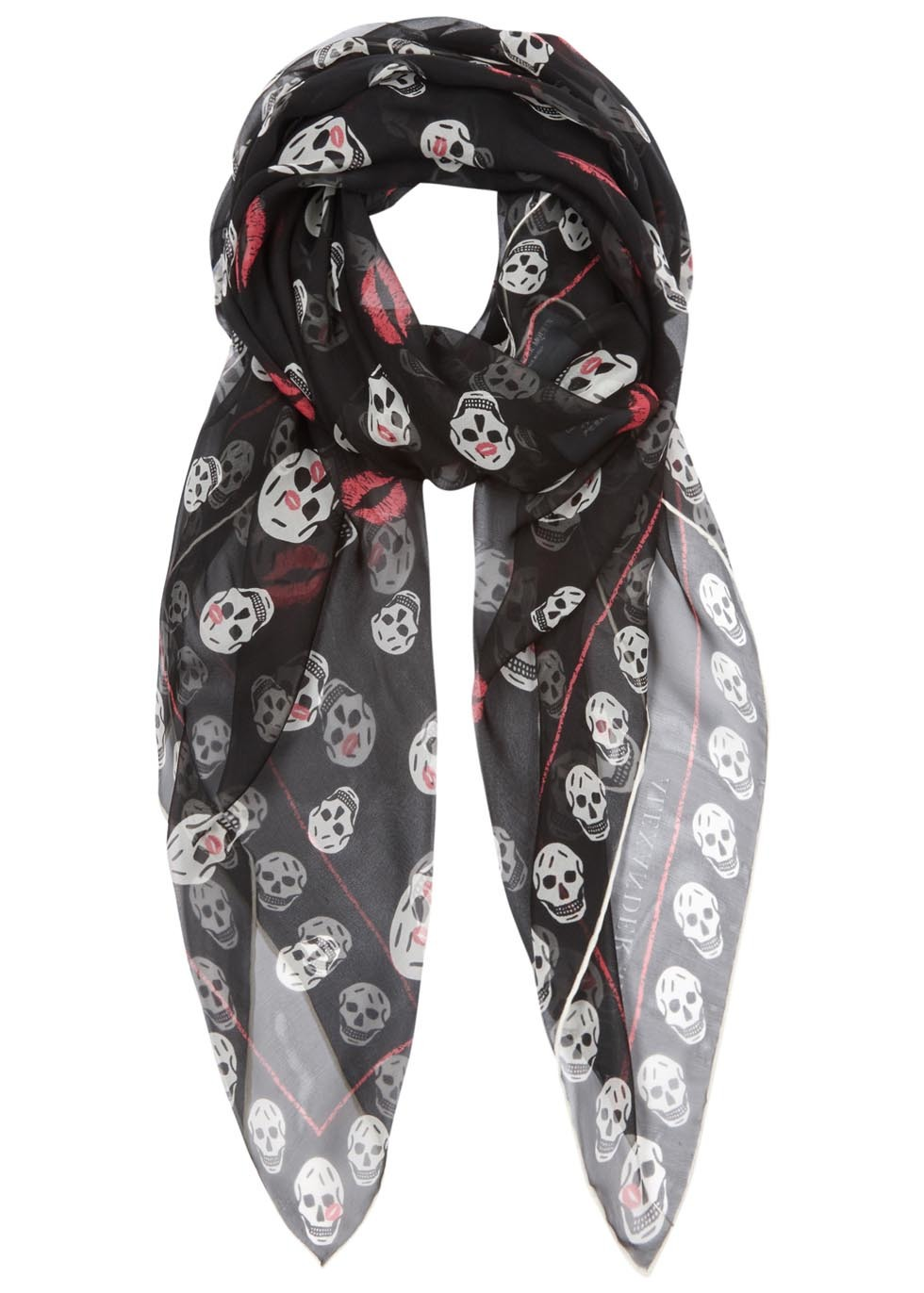 Skull Kisses Black Silk Chiffon Scarf - predominant colour: black; occasions: casual; type of pattern: large; style: regular; size: standard; material: fabric; pattern: patterned/print; season: s/s 2016; wardrobe: highlight