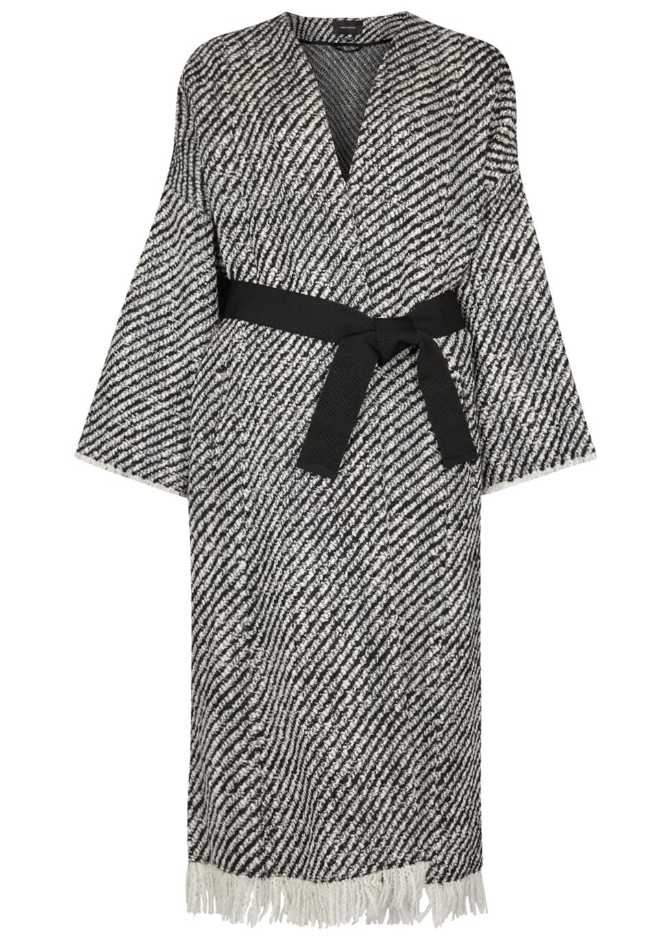 Iban Bouclé Tweed Coat - pattern: plain; collar: round collar/collarless; fit: loose; style: wrap around; length: calf length; predominant colour: mid grey; secondary colour: black; occasions: casual; fibres: wool - mix; waist detail: belted waist/tie at waist/drawstring; sleeve length: 3/4 length; sleeve style: standard; collar break: low/open; pattern type: fabric; texture group: woven bulky/heavy; embellishment: fringing; season: s/s 2016; wardrobe: highlight