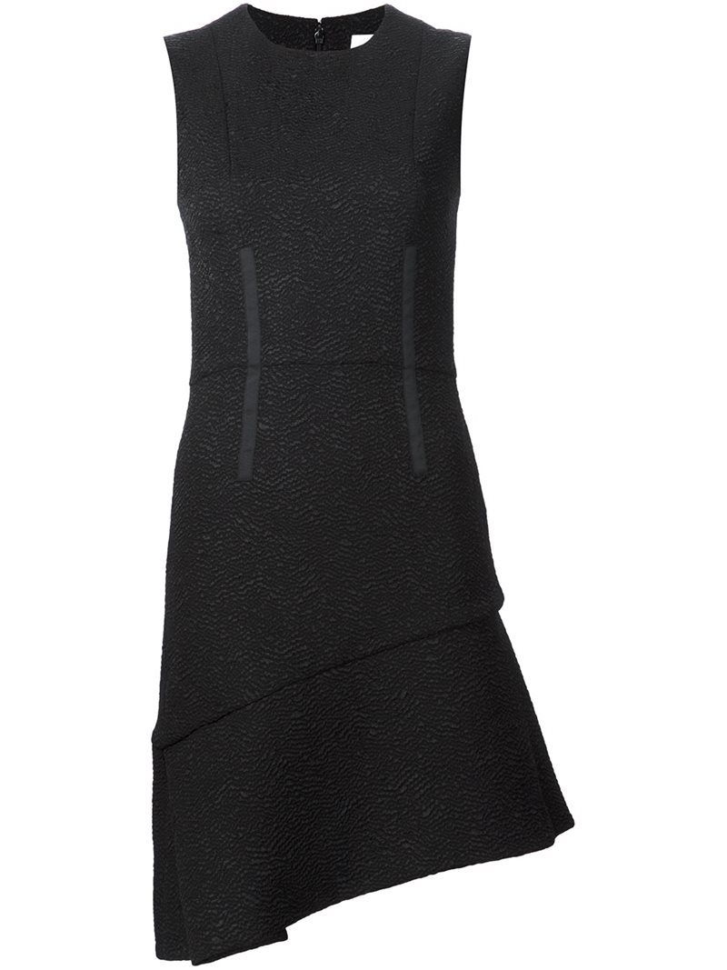 Asymmetrical Hem Dress, Women's, Black - length: mid thigh; fit: tailored/fitted; pattern: plain; sleeve style: sleeveless; predominant colour: black; occasions: evening, work, creative work; style: asymmetric (hem); fibres: wool - mix; neckline: crew; sleeve length: sleeveless; pattern type: fabric; texture group: woven light midweight; season: s/s 2016; wardrobe: investment