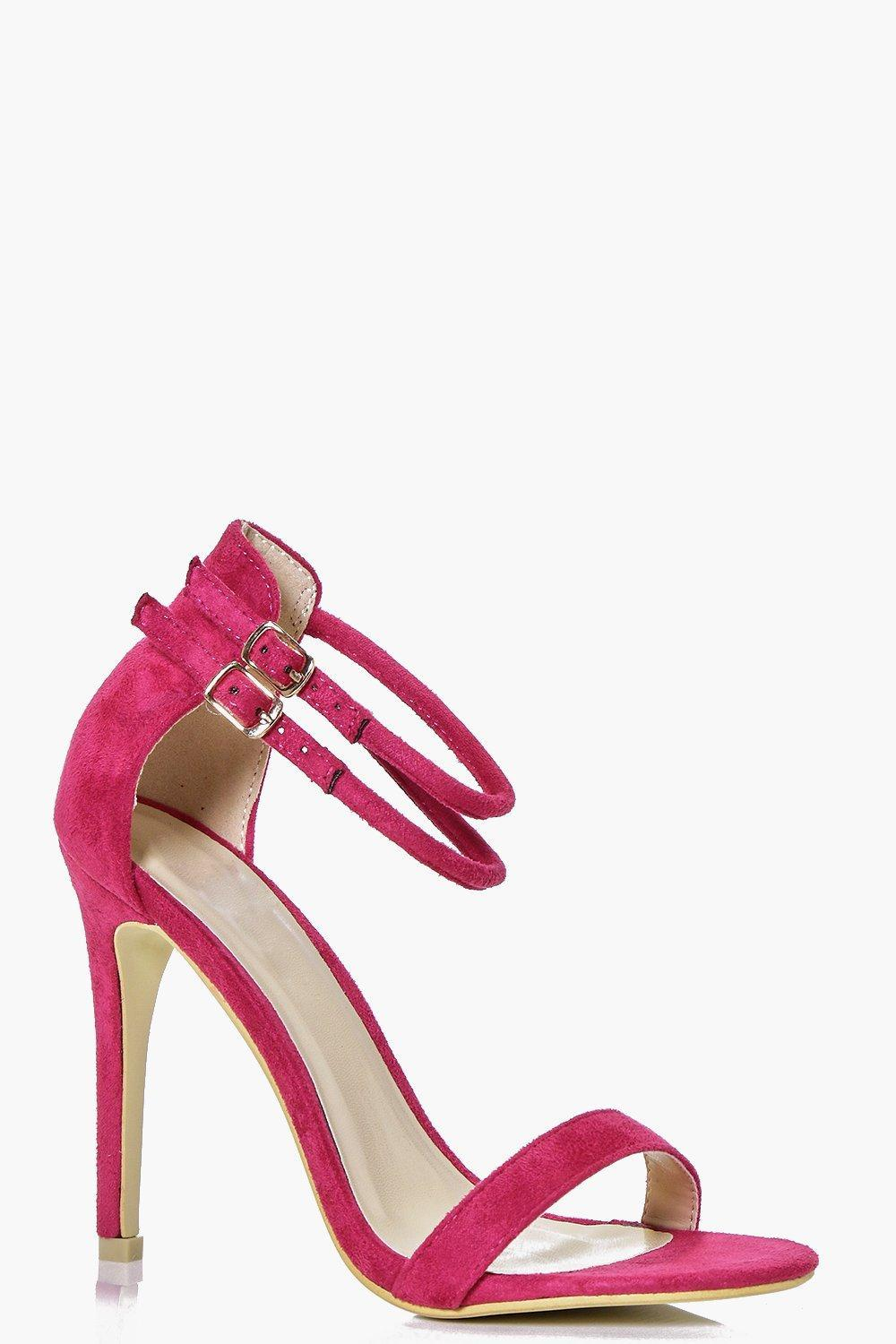 Double Ankle Band Two Part Heel Fuchsia - predominant colour: hot pink; occasions: evening, occasion; material: suede; embellishment: buckles; ankle detail: ankle strap; heel: stiletto; toe: open toe/peeptoe; style: strappy; finish: plain; pattern: plain; heel height: very high; season: s/s 2016; wardrobe: event
