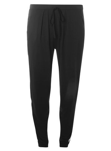 Womens Black And White Jersey Joggers Black - length: standard; style: harem/slouch; waist: high rise; pattern: argyll; waist detail: belted waist/tie at waist/drawstring; predominant colour: black; occasions: casual, creative work; fibres: viscose/rayon - stretch; fit: baggy; pattern type: fabric; texture group: other - light to midweight; season: s/s 2016; wardrobe: highlight