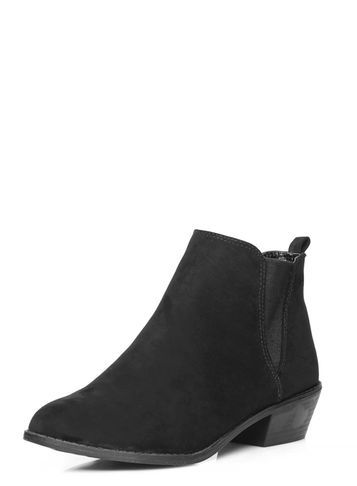 Womens Black 'millie' Prairie Boots Black - predominant colour: black; occasions: casual, creative work; material: suede; heel height: mid; heel: block; toe: pointed toe; boot length: ankle boot; style: standard; finish: plain; pattern: plain; season: s/s 2016; wardrobe: basic
