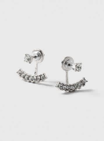 Womens Silver Front And Back Earrings Clear - predominant colour: silver; occasions: evening, occasion; style: stud; length: short; size: small/fine; material: chain/metal; fastening: pierced; finish: metallic; embellishment: crystals/glass; season: s/s 2016; wardrobe: event