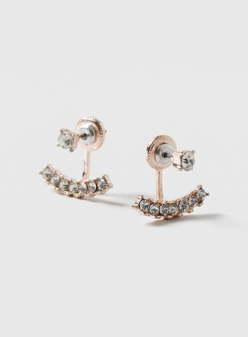 Womens Rose Front And Back Earrings Clear - predominant colour: gold; occasions: evening, occasion; style: stud; length: short; size: small/fine; material: chain/metal; fastening: pierced; finish: plain; embellishment: crystals/glass; season: s/s 2016