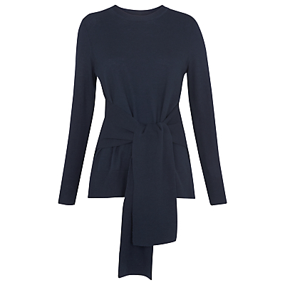 Tie Front Long Sleeve Knit Top - pattern: plain; waist detail: belted waist/tie at waist/drawstring; predominant colour: navy; occasions: casual, creative work; length: standard; style: top; fibres: cotton - mix; fit: body skimming; neckline: crew; sleeve length: long sleeve; sleeve style: standard; pattern type: fabric; texture group: jersey - stretchy/drapey; season: s/s 2016; wardrobe: basic