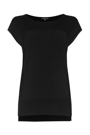 Pocket Woven Mix Tee - neckline: round neck; pattern: plain; style: t-shirt; predominant colour: black; occasions: casual, creative work; length: standard; fibres: viscose/rayon - 100%; fit: body skimming; sleeve length: short sleeve; sleeve style: standard; pattern type: fabric; texture group: jersey - stretchy/drapey; season: s/s 2016; wardrobe: basic