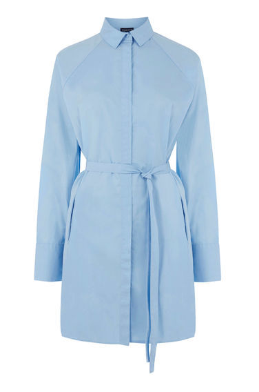Tie Waist Shirt Dress - style: shirt; length: mid thigh; neckline: shirt collar/peter pan/zip with opening; fit: fitted at waist; pattern: plain; waist detail: belted waist/tie at waist/drawstring; predominant colour: pale blue; occasions: casual, creative work; fibres: cotton - 100%; sleeve length: long sleeve; sleeve style: standard; texture group: cotton feel fabrics; pattern type: fabric; season: s/s 2016; wardrobe: highlight