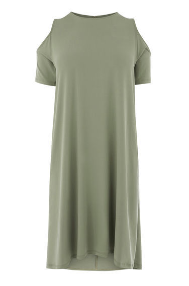 Cold Shoulder Dress - style: t-shirt; fit: loose; pattern: plain; predominant colour: khaki; occasions: casual; length: on the knee; fibres: polyester/polyamide - stretch; neckline: crew; shoulder detail: cut out shoulder; sleeve length: short sleeve; sleeve style: standard; pattern type: fabric; texture group: jersey - stretchy/drapey; season: s/s 2016