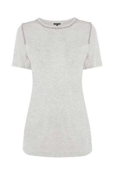 Placed Diamante Trim Tee - neckline: round neck; pattern: plain; length: below the bottom; style: t-shirt; predominant colour: light grey; occasions: casual; fibres: viscose/rayon - 100%; fit: body skimming; sleeve length: short sleeve; sleeve style: standard; pattern type: knitted - other; texture group: jersey - stretchy/drapey; season: s/s 2016